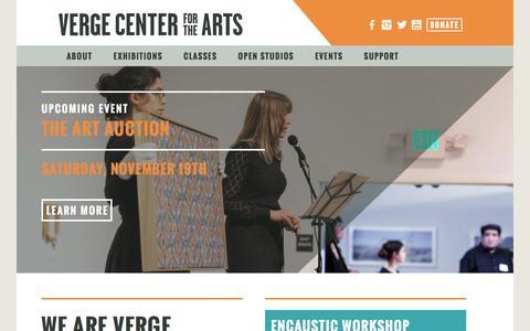 Screenshot of Home Page vergeart.com - Verge Center for the Arts - captured Nov. 29, 2016