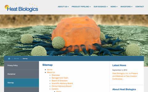 Screenshot of Site Map Page heatbio.com - Sitemap :: Heat Biologics, Inc. (HTBX) - captured Sept. 16, 2014