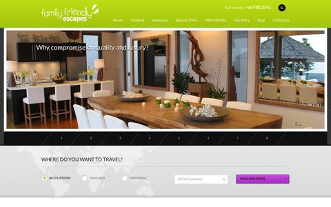 Screenshot of Home Page family-friendlyescapes.com - Home | Family Friendly Escapes - captured Sept. 30, 2014