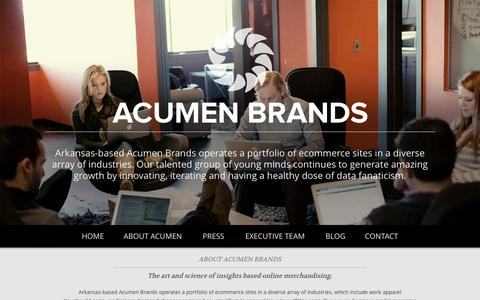 Screenshot of Home Page Contact Page Press Page acumenbrands.com - Acumen Brands, Inc - captured Sept. 22, 2014