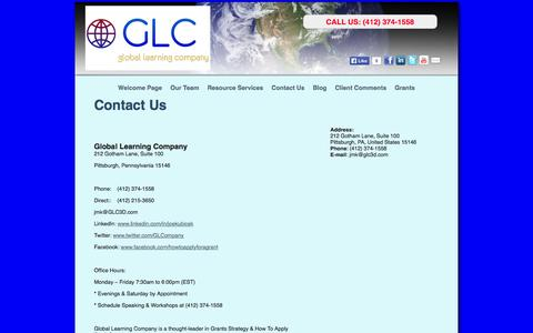 Screenshot of Contact Page glc3d.com - Grants Strategy and How To Apply For A Grant » Contact Us - captured Oct. 2, 2014