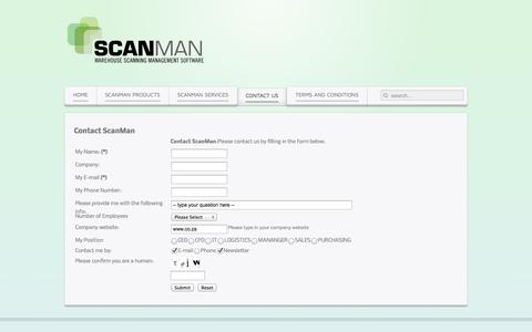 Screenshot of Contact Page scanman.co.za - Contact Us - captured Oct. 2, 2014