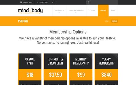 Screenshot of Pricing Page mindandbody.net.au - Pricing and Gym Membership Fitzroy - Mind and Body Gym - captured Feb. 8, 2016