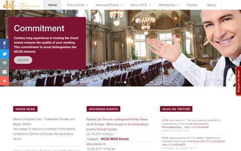 Screenshot of Home Page hcce.com - HCCE - Historic Conference Centres of Europe - Home - captured Aug. 12, 2017