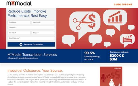 Screenshot of Landing Page mmodal.com - Transcription | M*Modal - captured Oct. 27, 2014
