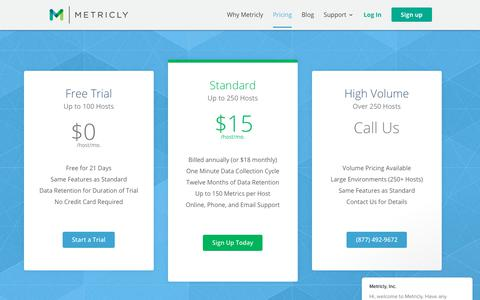 Screenshot of Pricing Page metricly.com - Metricly, Inc. says… - captured Jan. 3, 2018