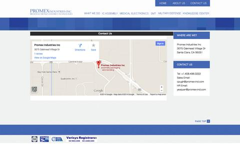 Screenshot of Contact Page Maps & Directions Page promex-ind.com - Promex Industries - captured Oct. 23, 2014