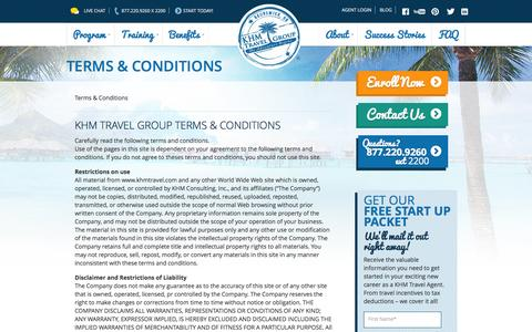 Screenshot of Terms Page khmtravel.com - Terms & Conditions | KHM Travel Group - Host Travel Agency - captured Sept. 25, 2014