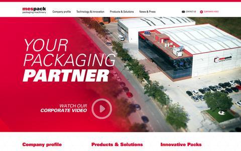 Screenshot of Home Page Menu Page mespack.com - Mespack Innovative packaging technologies — mespack.com — packaging machinery - captured Sept. 30, 2014