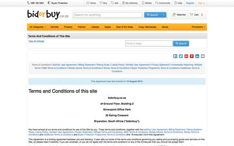 Screenshot of Terms Page bidorbuy.co.za - Terms And Conditions of This Site - captured June 7, 2017