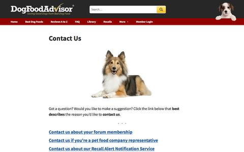 Screenshot of Contact Page dogfoodadvisor.com - Contact Us | Dog Food Advisor - captured Aug. 19, 2019