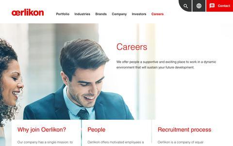Screenshot of Jobs Page oerlikon.com - Careers - captured Feb. 2, 2019