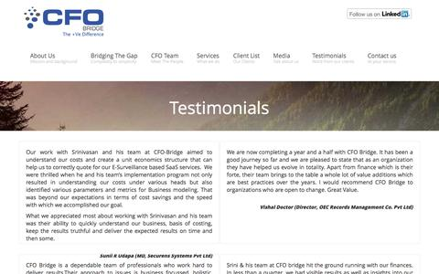 Screenshot of Testimonials Page cfo-bridge.in - Shared, Virtual or On Demand CFO services by experienced CFO team for Start-ups and Medium Enterprises (SME CFO services) Testimonials | CFO services in India | Virtual CFO in Mumbai - captured May 11, 2017