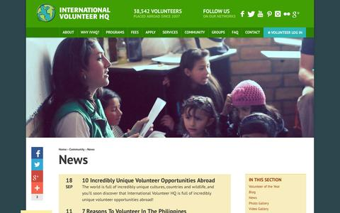Screenshot of Press Page volunteerhq.org - IVHQ News | International Volunteer HQ - captured Sept. 22, 2014