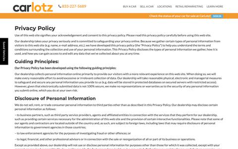 Screenshot of Privacy Page carlotz.com - Privacy Policy | CarLotz - captured May 8, 2019