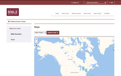 Screenshot of Maps & Directions Page unitedbiblesocieties.org - Maps - United Bible Societies - captured Oct. 29, 2014