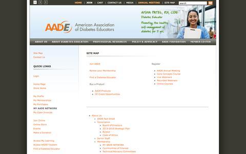 Screenshot of Site Map Page diabeteseducator.org - Site Map - American Association of Diabetes Educators - captured Sept. 22, 2014