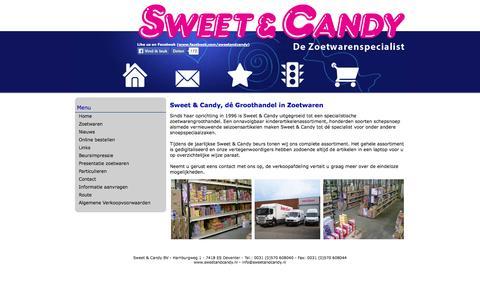 Screenshot of Home Page sweetandcandy.nl - Sweet & Candy, de zoetwarenspecialist! - Zoetwarengroothandel, dé Groothandel in zoetwaren en snoep - captured Oct. 6, 2014