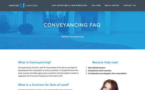 Screenshot of Privacy Page FAQ Page unifiedlawyers.com.au - Conveyancing FAQ — Unified Lawyers: Sydney Lawyer, Solicitor, Conveyancing - Sydney - captured Oct. 27, 2014