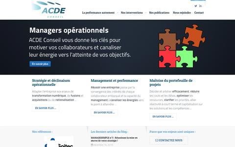 Screenshot of Home Page acde-conseil.com - Accueil - ACDE Conseil - captured Dec. 22, 2015