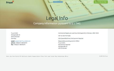 Screenshot of Terms Page fruux.com - fruux | corporate info - captured Sept. 16, 2014