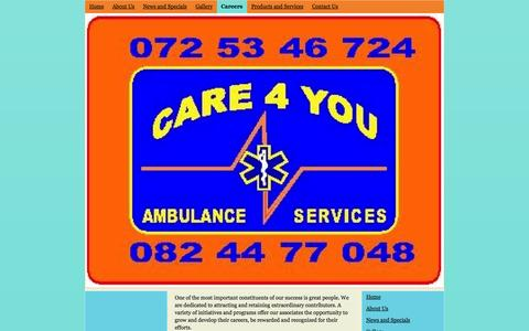 Screenshot of Jobs Page care4you911.co.za - Careers - Care 4 You Ambulance Service - captured Oct. 22, 2014