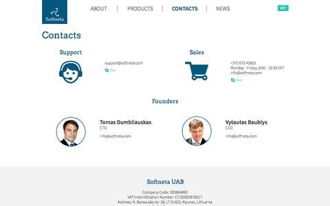 Screenshot of Support Page softneta.com - Contacts - captured Dec. 10, 2016