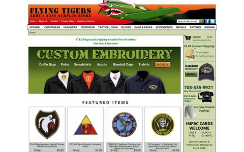 Screenshot of Home Page flyingtigerssurplus.com - Flying Tigers Military, Army & Navy Surplus Store - captured Oct. 10, 2018