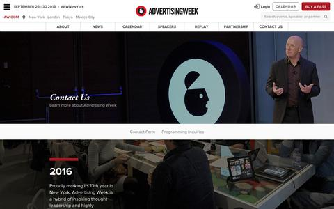 Screenshot of Privacy Page advertisingweek.com - Advertising Week - New York [Sep 26 - 30 ] / Contact Us - captured Nov. 14, 2016