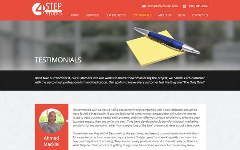 Screenshot of Testimonials Page 4stepstudio.com - The Road to Online Marketing Success Starts With a Great Relationship - captured Oct. 8, 2017