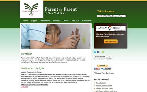 Screenshot of Home Page parenttoparentnys.org - Parent to Parent of New York State - captured June 20, 2016