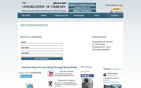 Screenshot of Contact Page congregationofchurches.org - Contact - captured Jan. 30, 2017