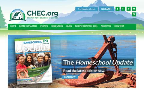 Screenshot of Home Page chec.org - CHEC - Christian Home Educators of Colorado - captured July 29, 2017