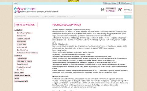 Screenshot of Privacy Page yocabe.it - Politica sulla Privacy - captured Nov. 3, 2014