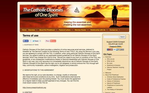 Screenshot of Terms Page onespiritcatholic.org - Terms of use | Catholic Dioceses of One Spirit - captured Oct. 2, 2014