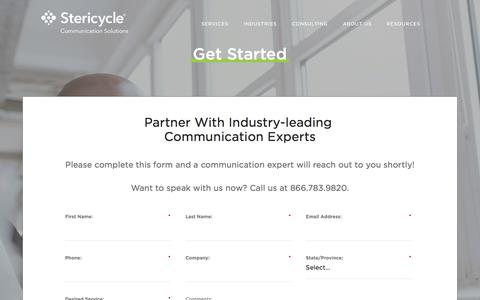 Screenshot of Contact Page stericyclecommunications.com - Stericycle Communication Solutions - captured Oct. 7, 2017