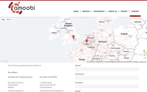 Screenshot of Contact Page amoobi.com - Contact - Amoobi - captured July 4, 2016