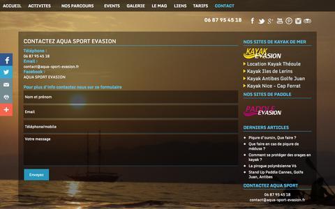 Screenshot of Contact Page aqua-sport-evasion.fr - Aqua Sport Evasion - Location de Kayak - Stand-up Paddle - captured Sept. 22, 2014