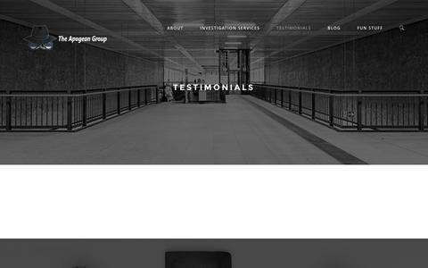 Screenshot of Testimonials Page theapogeangroup.com - Testimonials - The Apogean Group - captured Feb. 15, 2016