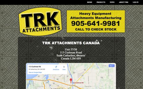 Screenshot of Contact Page trkattach.ca - Contact TRK - captured Sept. 23, 2014