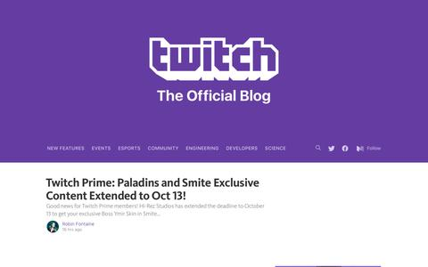 Screenshot of Blog twitch.tv - Twitch Blog - captured Oct. 3, 2016