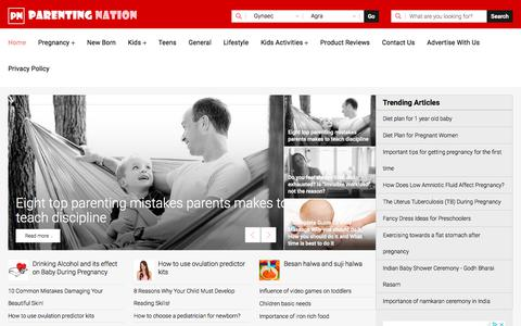 Screenshot of Home Page parentingnation.in - Parenting Tips, Pregnancy Care, Parenting Advice - Parenting Nation India - captured Aug. 2, 2019