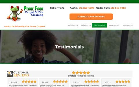 Screenshot of Testimonials Page peacefrogcarpetcleaning.com - Testimonials - Peace Frog Carpet & Tile Cleaning - captured May 2, 2019
