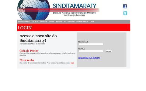 Screenshot of Login Page sinditamaraty.org.br - Login - Sindicato Nacional dos Servidores do Ministério das Relações Exteriores - captured Sept. 30, 2014