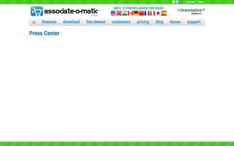 Screenshot of Press Page associate-o-matic.com - Associate-O-Matic   Press Center - captured Dec. 26, 2015