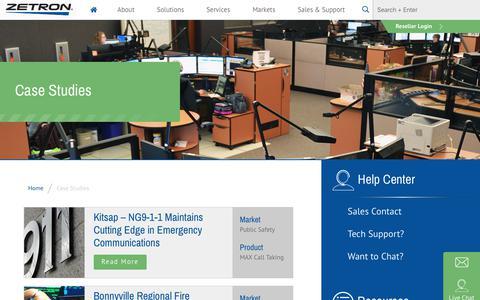 Screenshot of Case Studies Page zetron.com - Case Studies - Zetron - captured Dec. 10, 2018