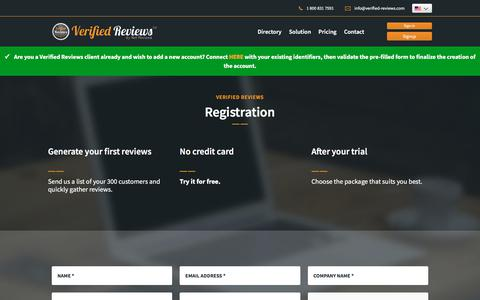 Screenshot of Signup Page Trial Page verified-reviews.com - verified-reviews - Boost your sales - captured Nov. 3, 2019