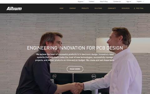 Screenshot of Home Page altium.com - PCB Design Tools - EDA Software - ECAD Data Management - Altium - captured Oct. 1, 2015