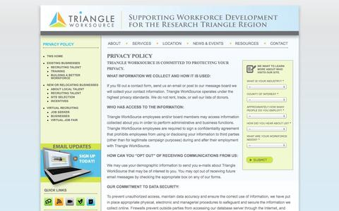 Screenshot of Privacy Page triangleworksource.com - Privacy Policy |  Triangle Work Source - captured Oct. 7, 2014