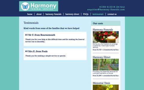 Screenshot of Testimonials Page harmony-funerals.com - Testimonials | Harmony - captured Oct. 2, 2014